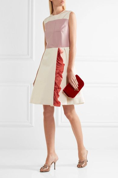 Prada - Color-block Ruffled Silk-faille Mini Dress - Ivory - IT40