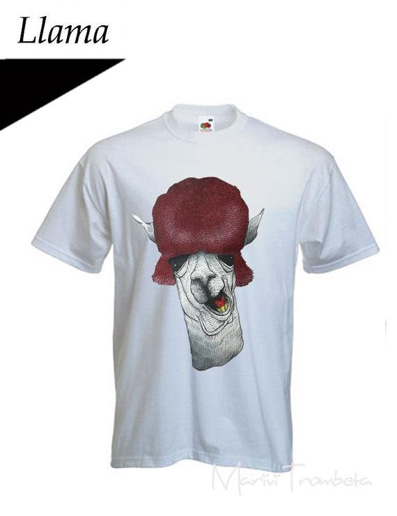 SALEtshirt dipinta a mano/Llama   tshirt pintada di MariviTrombeta, $20,00