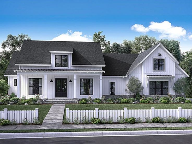 this contemporary version of a classic farmhouse displays eye catching curb appeal a wide
