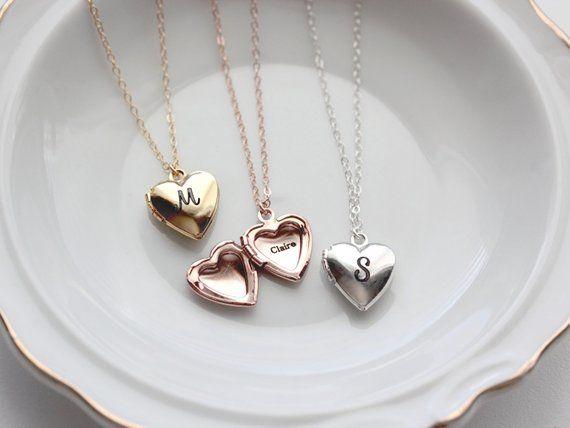 Heart Locket / Personalized Heart Lockets / Engraved Heart Necklace / Heart Locket Necklace / Personalized Locket Jewelry / Bridesmaid Gift