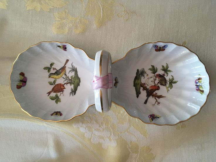 Herend 2 section serving dish.  Goodwill Industries $7.00. Possibly Rothschild bird pattern.
