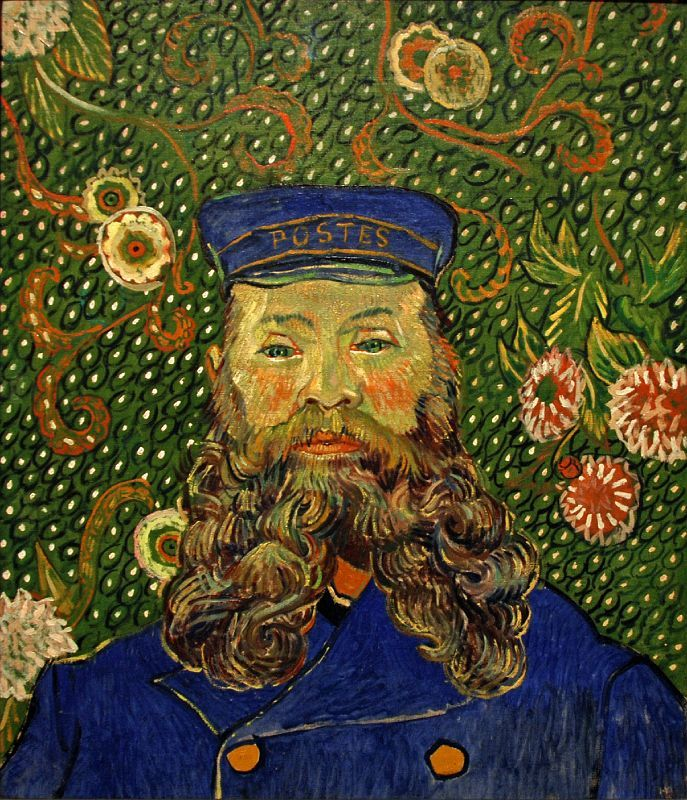 "van Gogh >> ""I want to paint men and women with that something of the eternal which the halo used to symbolize, and which we try to convey by the actual radiance and vibration of our coloring."""