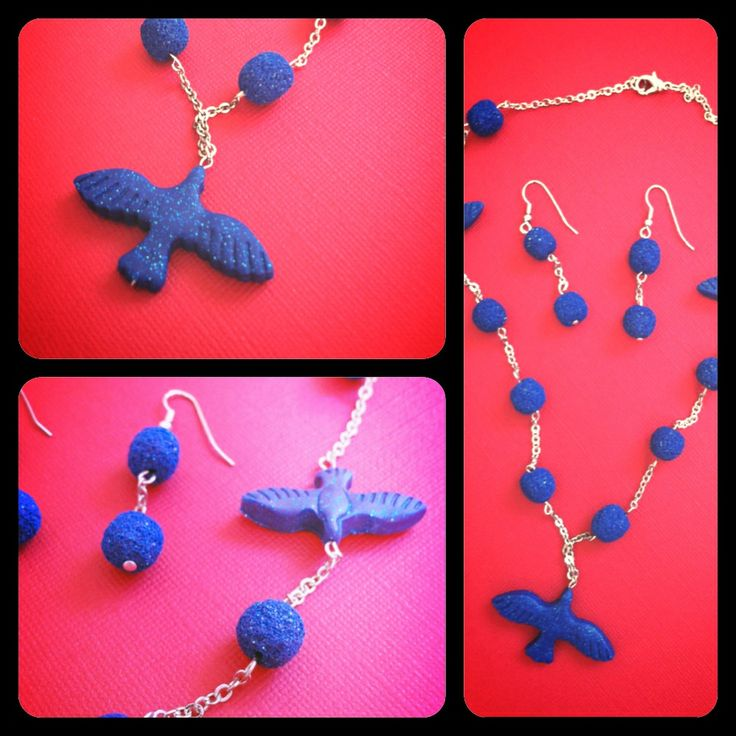 Necklece and earrings. Blue clay with sparkle and small chains.