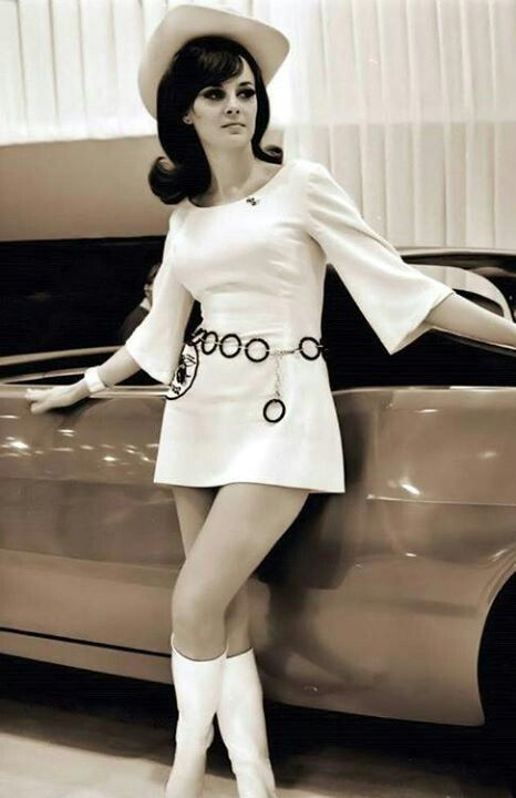 1960's fashion white mini dress go go boots hat belt ring