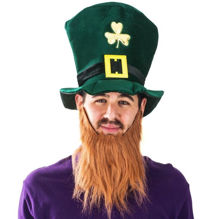 Leprechaun St. Patrick Day Costume Top Hat and Beard Accessory Funny Party Hats #FunnyPartyHats