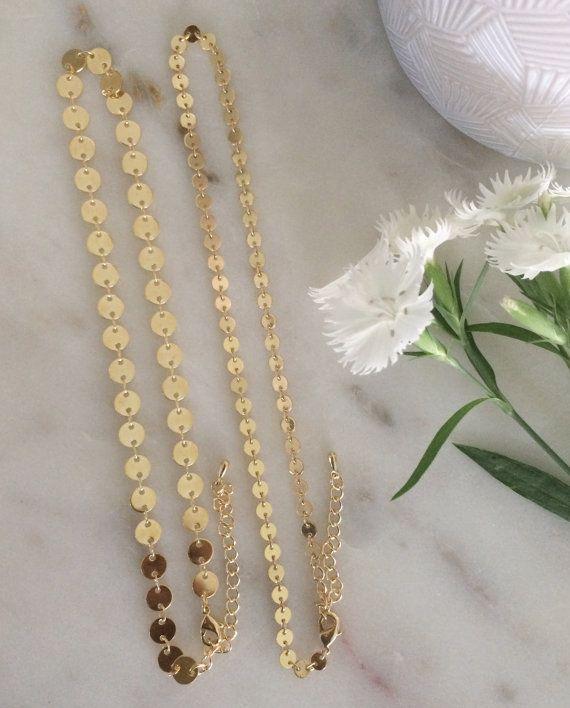 Gold Coin Choker 4mm Gold Disc Necklace Gold Coin by SHOPEVREN