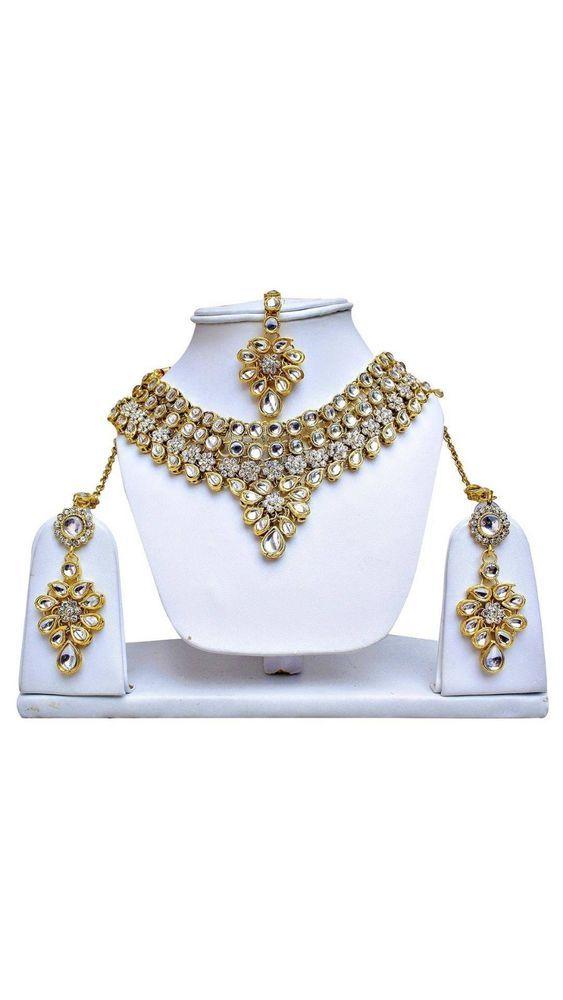 Wedding Wear Indian Bollywood Bridal Women Kundan Gold Plated Necklace Set #natural_gems15