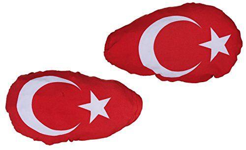 Lot de 2drapeaux Turquie pour rétroviseurs extérieurs Drapeau rétroviseur: Rétroviseur extérieur Turquie Drapeaux avec élastique à fixer…