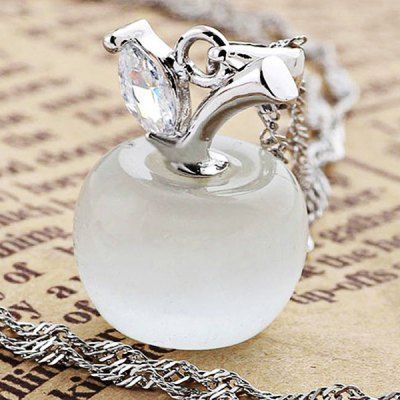 Lovely 925 Sterling Silver Pendant with Clear Cat's Eye Stone Apple Shape (White) | Everbuying Mobile