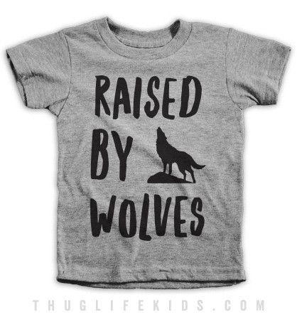 Raised by wolves. White Shirts are 100% Cotton. Heather Grey Shirts are 90% Cotton, 10% Polyester. All Shirts are printed in the USA.