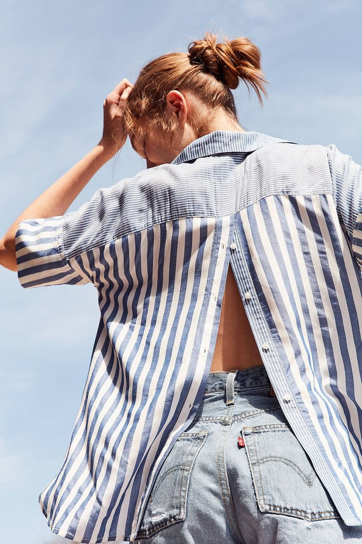 Slide View: 1: BDG Mixed Striped Popover Collared Top