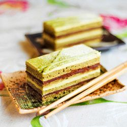 Matcha Green Tea Opera Cake - with chocolate, Underberg and tonka bean ...