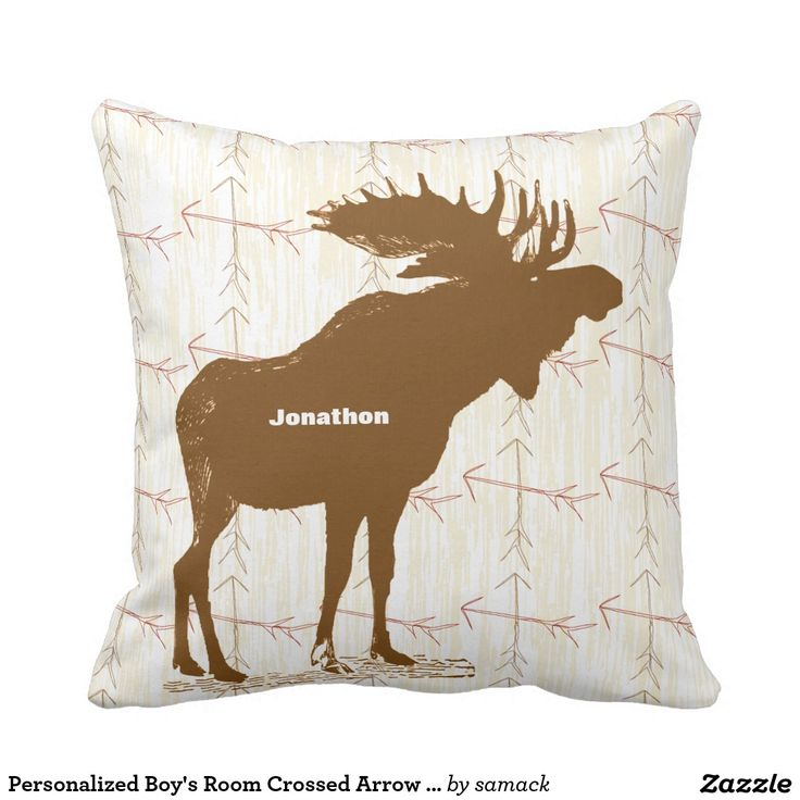 Personalized Boy's Room Crossed Arrow Moose Throw Pillow