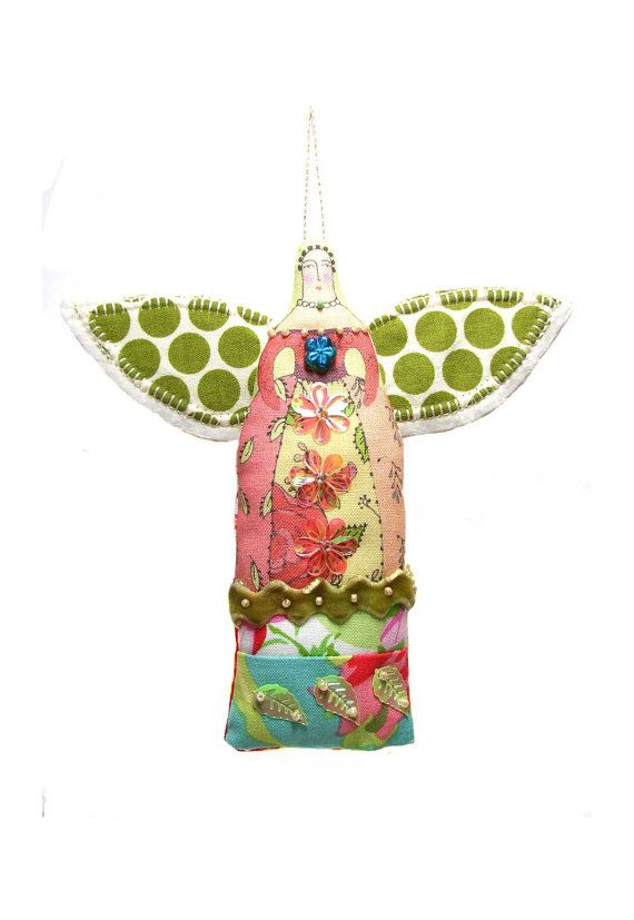 Small folk art angel ornament by theresahutnick on Etsy,