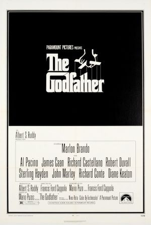 """The Godfather 1972 - original vintage movie poster by Sadamitsu """"S. Neil"""" Fujita for the classic gangster film The Godfather directed by Francis Ford Coppola with Mario Puzo and starring Marlon Brando in the lead role with Al Pacino, James Caan, Richard Castellano, Robert Duvall, Sterling Hayden, John Marley, Richard Conte and Diane Keaton, listed on AntikBar.co.uk"""
