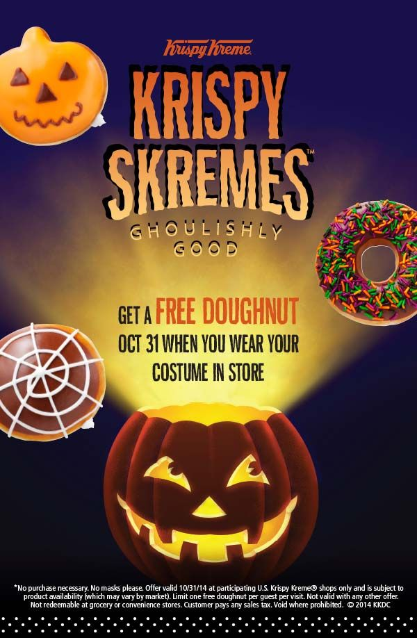 On October 31st, come dressed in your favorite costume and get one FREE boo-tiful doughnut of your choice (including the Ghostbusters doughnuts) at any participating Krispy Kreme US location.