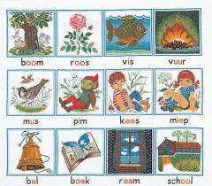 1973 words learned at school - boom roos vis vuur - eerste (toen nog) klas woordjes...mijn juf leerde ze ons met het verhaal over duimelijntje