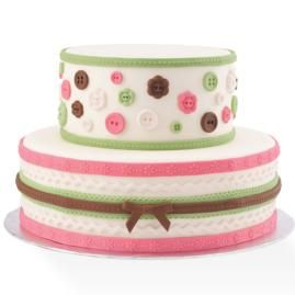 Decorate a cake bouncing with buttons, ribbon and rick-rack shapes molded in our Fabric Designs Gum Paste and Fondant Mold.