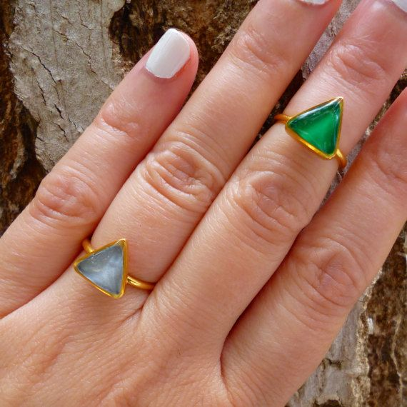 Hey, I found this really awesome Etsy listing at https://www.etsy.com/listing/269995807/green-triangle-ring-gray-ring-grey-ring