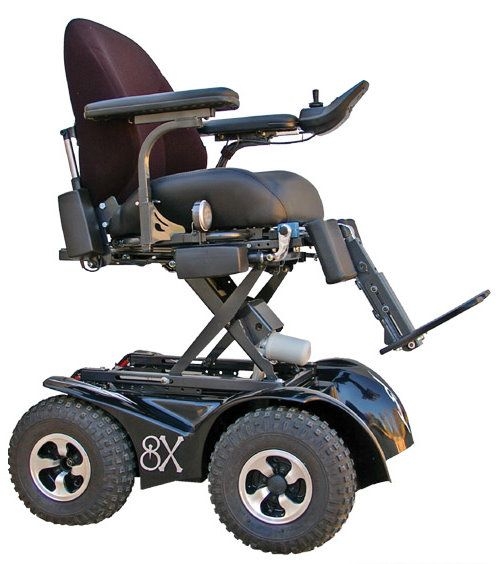 Magic Mobility offers a line of off-road power wheelchairs including the Extreme 4×4 four wheel drive powered wheelchair. Description from powercchair.com. I searched for this on bing.com/images