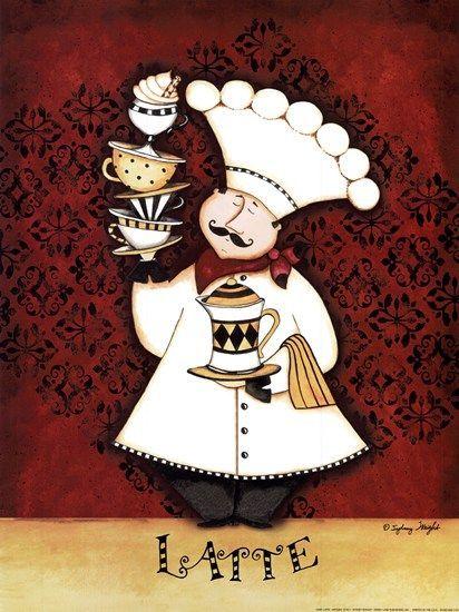 Chef Clip Art | Chef Latte by Sydney Wright art print