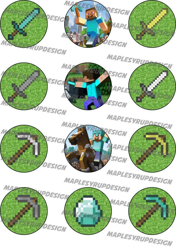 Minecraft Party Circles / Cupcake Toppers