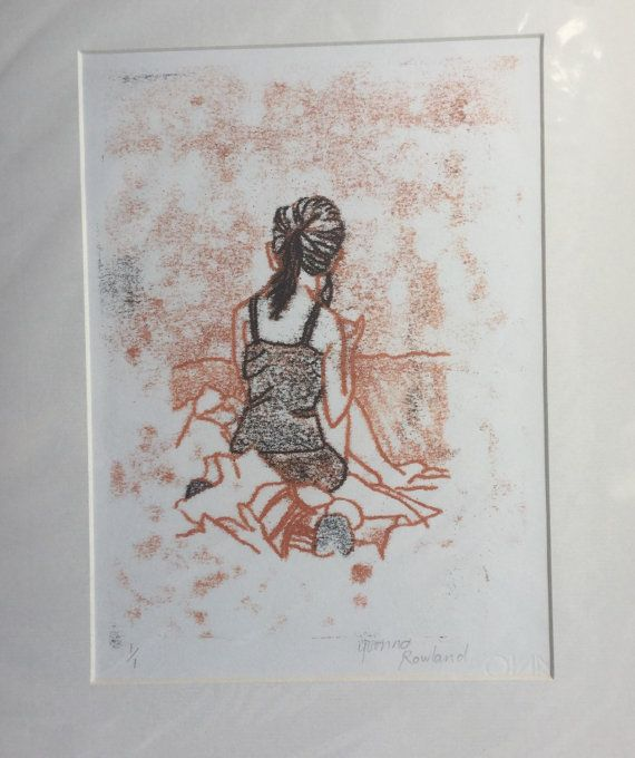Monotype print 'Reading' by BonnysLoft on Etsy