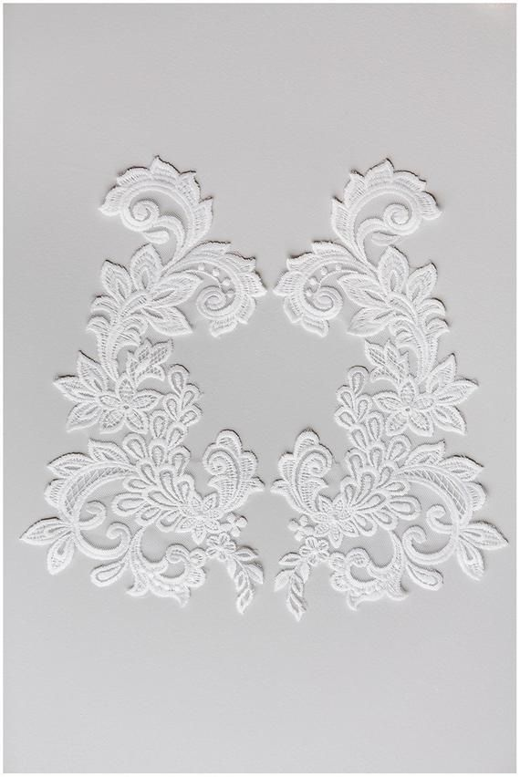 5 White Embroidered Guipure Lace Flower Motif Applique Wedding Patch