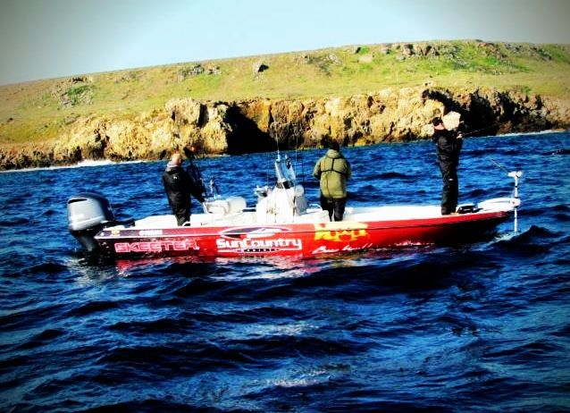 24' skeeter bay boat from sun country marine at San Clemente island with bass knuckles crew!