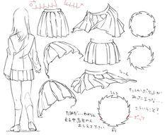How to draw uniform/sailor/pleaded skirts. -- Drawing tools, inspiration, tutorial, anime/manga, realistic