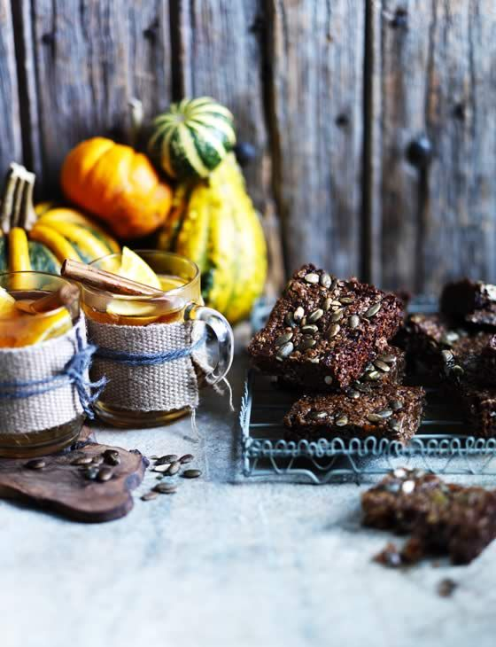 Pumpkin seed, black treacle and ginger squares