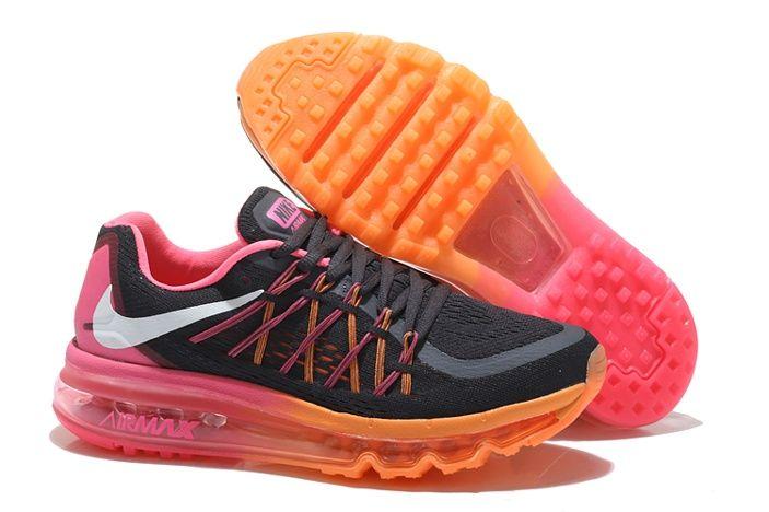 Nike Air Max 2015 Chaussures De Course Pour Femme Orange Rose Argent Noir