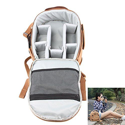 Biskcn1 Female Waterproof DSLR Camera Lens Backpack Case Bag fit Canon Nikon Sony ** Want to know more, click on the image.