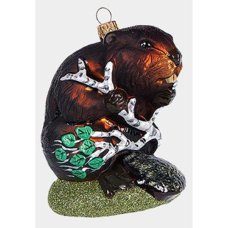 Beaver with Branch of Wood Polish Blown Glass Christmas Ornament Decoration - Walmart.com