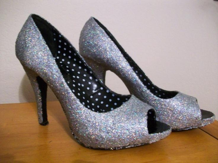 mod podged glitter shoes
