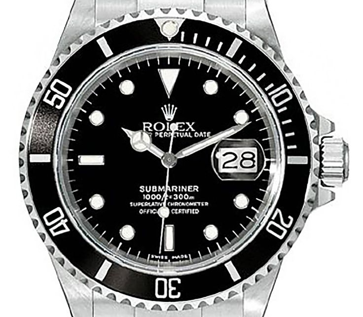 Rolex Submariner 16610 Date Stainless Steel Men's Dive Watch with Black Dial Bezel 40mm Case