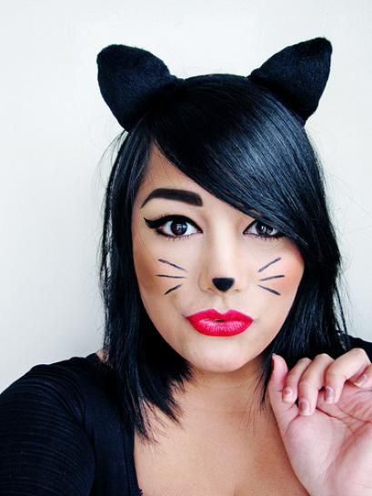 Halloween cat makeup/ears. I'd probably skip the nose and just do a classy cat eye look, possibly with whiskers.