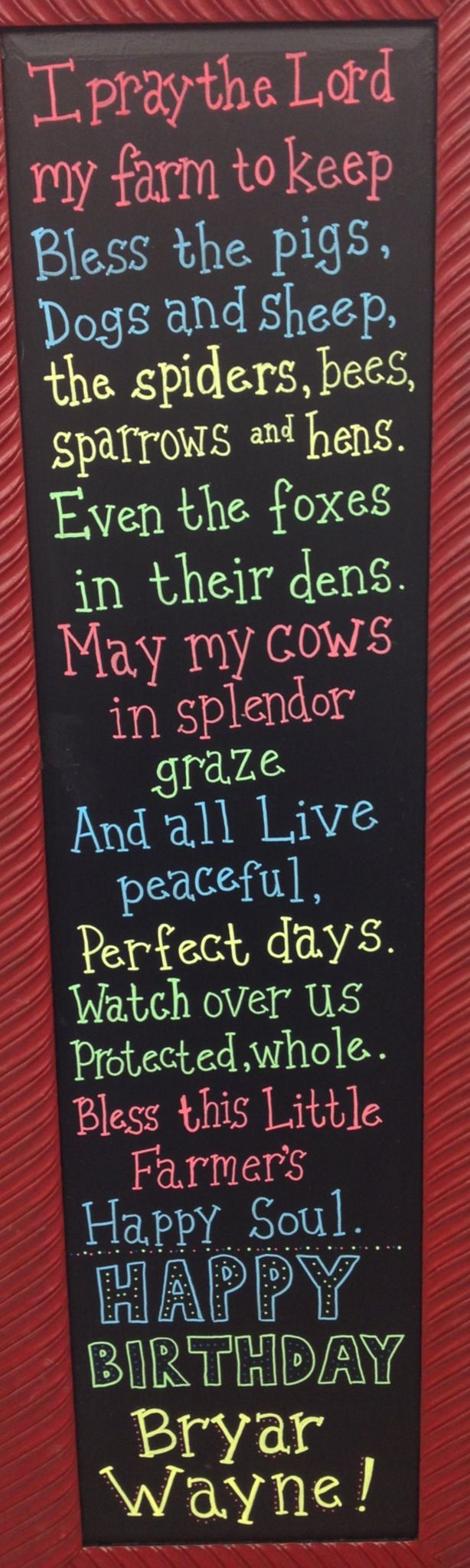 Farmer's Prayer - Barnyard / Cowboy Party