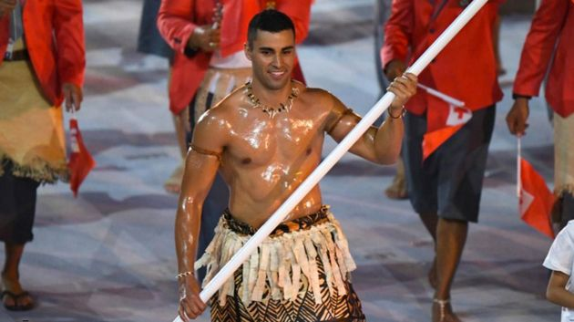 The Tongan flag bearer 2016 Rio Olympics