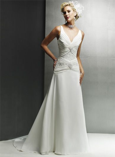 Wholesale Cheap Gorgeous Straps Embroider V-Neck Beads Working Chiffon Satin Court Train Beach Wedding Dress for Brides