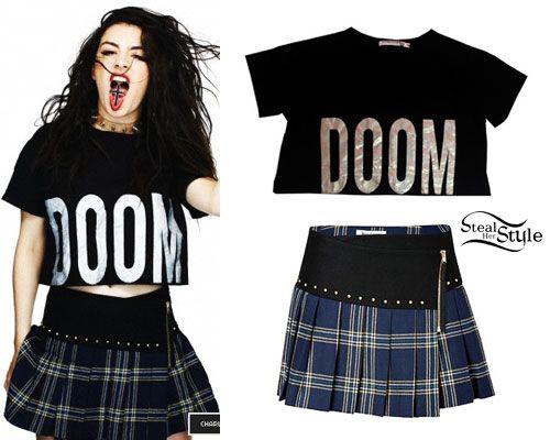 Charli XCX: DOOM Tee, Plaid Skirt