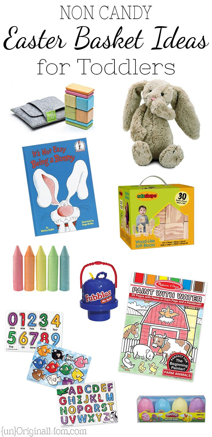 Great, non-candy ideas for a toddler's Easter Basket, perfect for 2 and 3 year olds. Inexpensive, but nothing electronic or plastic-y - all quality toys!