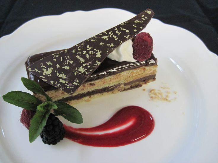Opera Cake -  Jaconde Sponge, Coffee Buttercream, Chocolate Ganache #Yum #FoodPorn #Instafood #Gourmet #Pinsperation