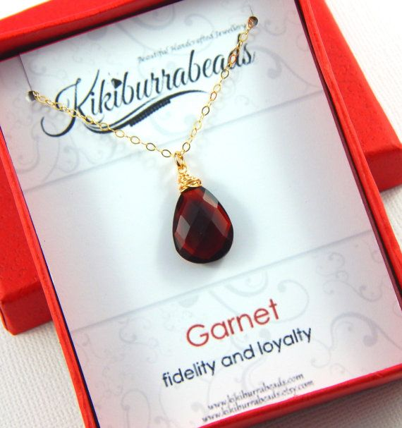 Garnet Necklace January Birthstone Necklace Gold by Kikiburrabeads