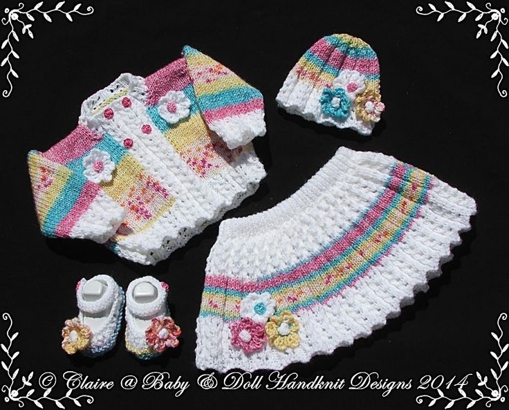 "Floral Skirt & Jacket Set 16-22"" doll/prem-3m+ baby-babydoll handknit designs, knitting pattern, flower, floral, jacket, skirt, doll, reborn, baby"