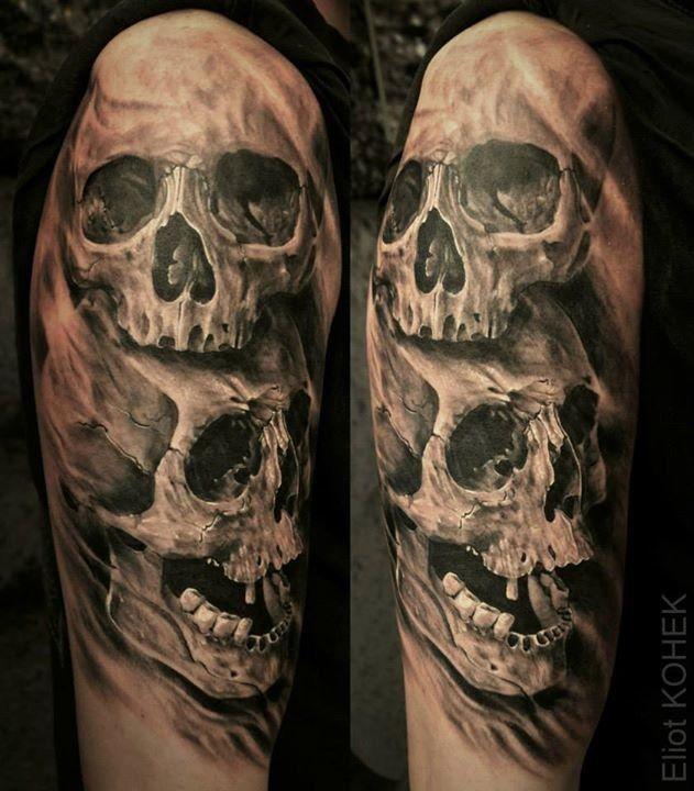 Tatouage Tête de mort Dark sur Bras pour Homme