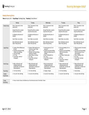 teaching strategies gold weekly planning form blank