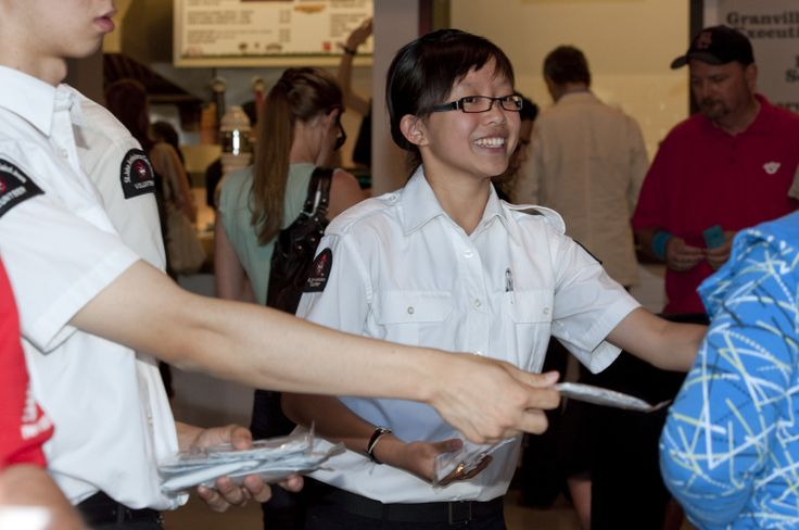 A happy cadet member handing out handy wallet kits!   Get yours today! http://shopsafetyproducts.ca/description.php?sid=1&cid=4&id=42&q=wal