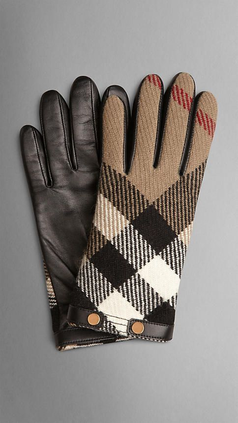 Check Wool and Leather Touch Screen Gloves | Burberry