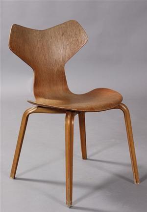 Køb stole - danske klassikere, antikke, moderne - Arne Jacobsen, Grand Prix stol, teak- og bøgetræ - DK, Aalborg, Nibevej